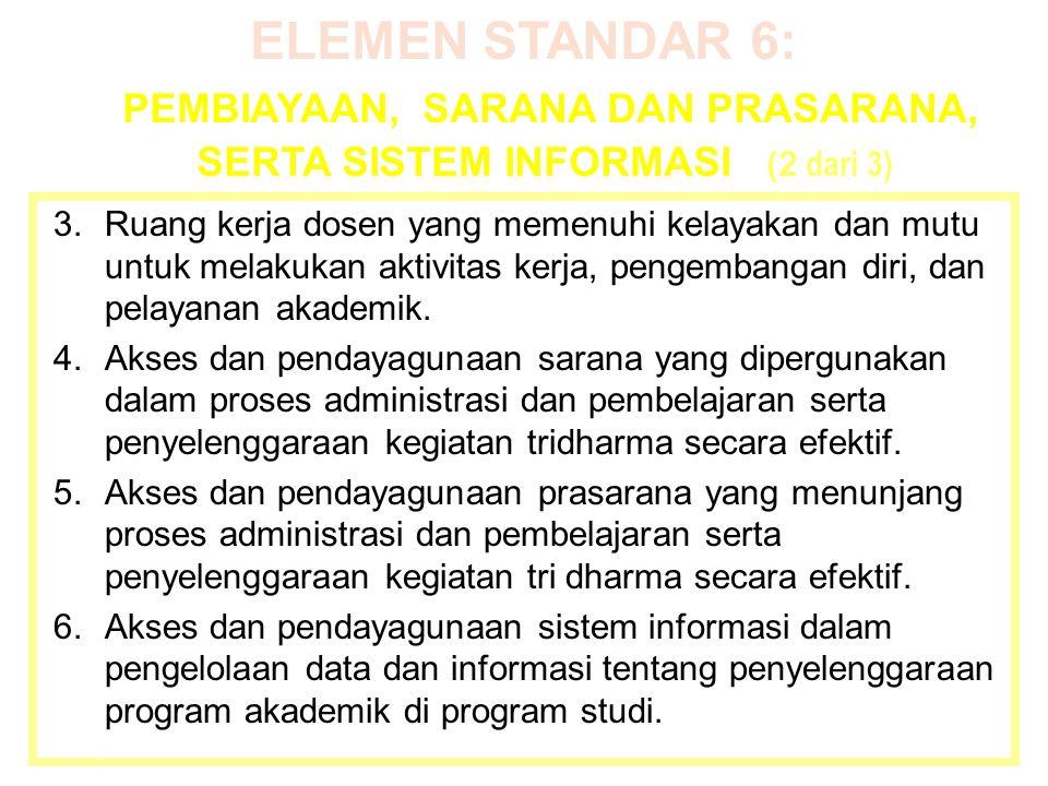 ELEMEN STANDAR 6: PEMBIAYAAN, SARANA DAN PRASARANA, SERTA SISTEM INFORMASI (2 dari 3) 3.Ruang kerja dosen yang memenuhi kelayakan dan mutu untuk melak
