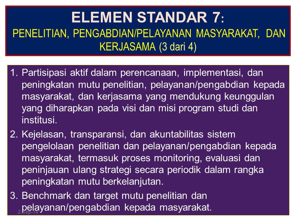 ELEMEN STANDAR 7 : PENELITIAN, PENGABDIAN/PELAYANAN MASYARAKAT, DAN KERJASAMA (3 dari 4) 1.Partisipasi aktif dalam perencanaan, implementasi, dan peni