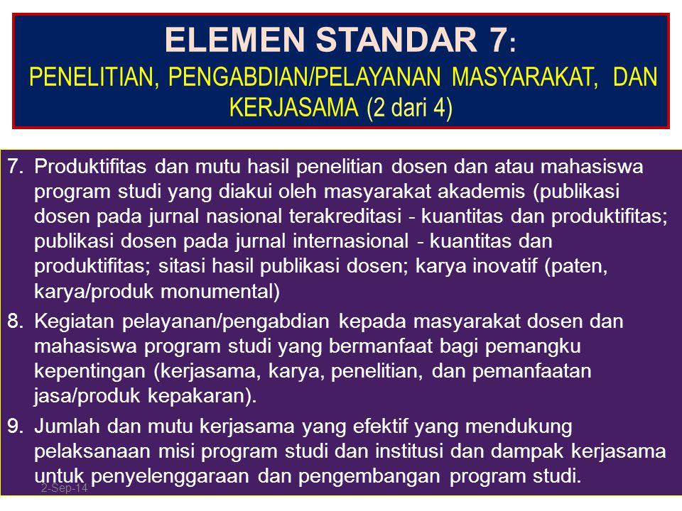 ELEMEN STANDAR 7 : PENELITIAN, PENGABDIAN/PELAYANAN MASYARAKAT, DAN KERJASAMA (2 dari 4) 7.Produktifitas dan mutu hasil penelitian dosen dan atau maha