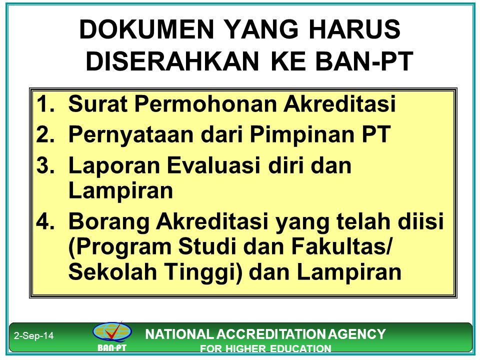 BAN-PT NATIONAL ACCREDITATION AGENCY FOR HIGHER EDUCATION BAN-PT NATIONAL ACCREDITATION AGENCY FOR HIGHER EDUCATION DOKUMEN YANG HARUS DISERAHKAN KE B