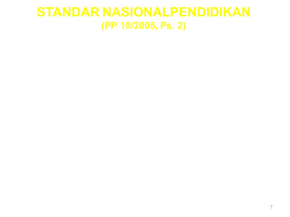 7 (1) Lingkup Standar Nasional Pendidikan meliputi: a. standar isi; b. standar proses; c. standar kompetensi lulusan; d. standar pendidik dan tenaga k