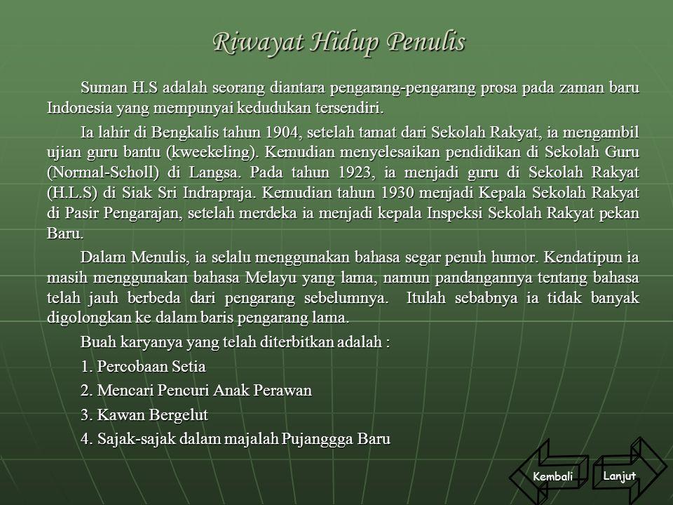 Riwayat Hidup Penulis Suman H.S adalah seorang diantara pengarang-pengarang prosa pada zaman baru Indonesia yang mempunyai kedudukan tersendiri. Ia la