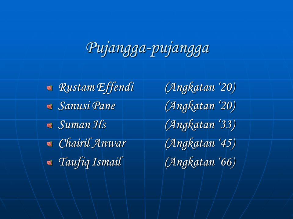 Pujangga-pujangga Rustam Effendi(Angkatan '20) Sanusi Pane (Angkatan '20) Suman Hs(Angkatan '33) Chairil Anwar(Angkatan '45) Taufiq Ismail (Angkatan '