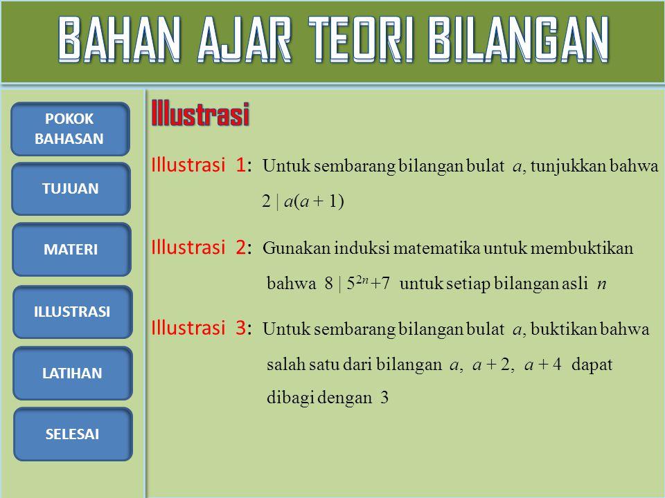 TUJUAN MATERI ILLUSTRASI LATIHAN SELESAI POKOK BAHASAN Illustrasi 1: Untuk sembarang bilangan bulat a, tunjukkan bahwa 2 | a(a + 1) Illustrasi 2: Gunakan induksi matematika untuk membuktikan bahwa 8 | 5 2n +7 untuk setiap bilangan asli n Illustrasi 3: Untuk sembarang bilangan bulat a, buktikan bahwa salah satu dari bilangan a, a + 2, a + 4 dapat dibagi dengan 3