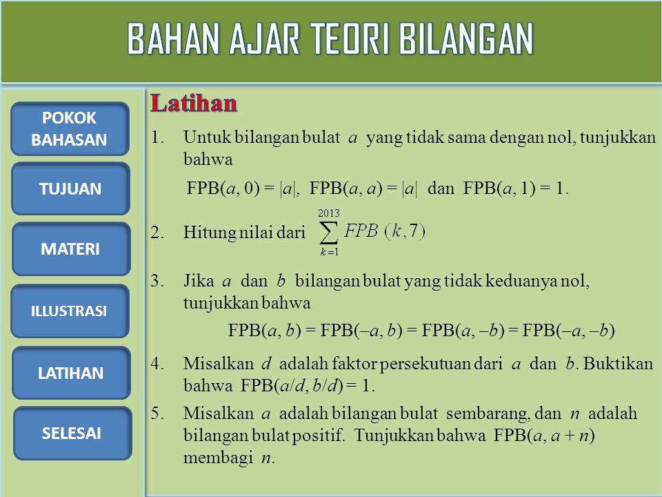 TUJUAN MATERI ILLUSTRASI LATIHAN SELESAI POKOK BAHASAN 1.Untuk bilangan bulat a yang tidak sama dengan nol, tunjukkan bahwa FPB(a, 0) = |a|, FPB(a, a) = |a| dan FPB(a, 1) = 1.
