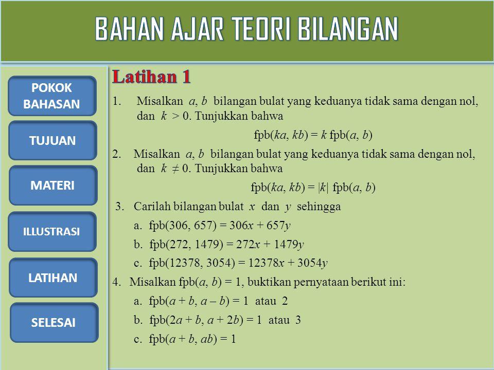 TUJUAN MATERI ILLUSTRASI LATIHAN SELESAI POKOK BAHASAN 1.Misalkan a, b bilangan bulat yang keduanya tidak sama dengan nol, dan k > 0. Tunjukkan bahwa