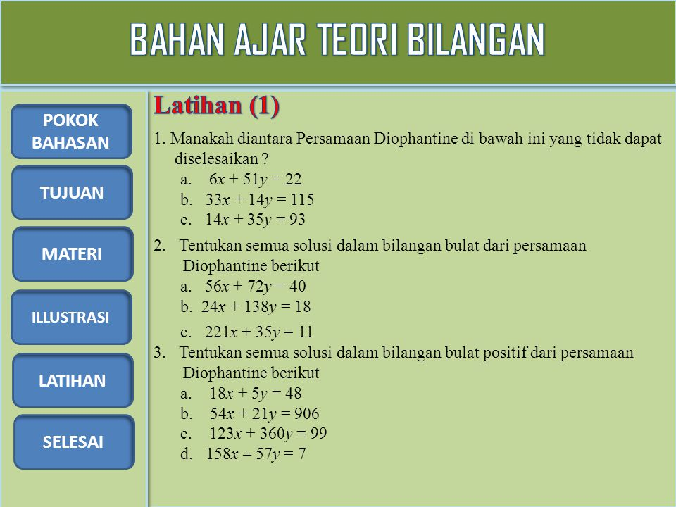 TUJUAN MATERI ILLUSTRASI LATIHAN SELESAI POKOK BAHASAN 4.Carilah semua solusi dalam bilangan bulat dari 9x + 12y + 18z = 24 5.Ada 63 tumpukan buah pisang yang jumlahnya sama diletakkan bersama-sama dan 7 buah pisang diletakkan terpisah.