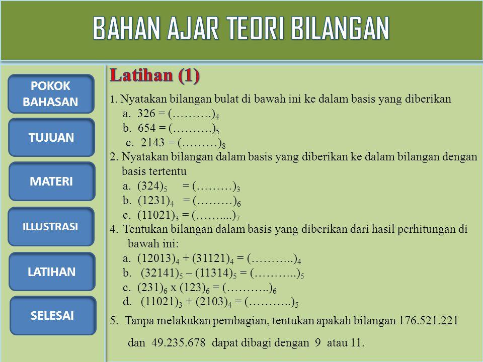 TUJUAN MATERI ILLUSTRASI LATIHAN SELESAI POKOK BAHASAN 1. Nyatakan bilangan bulat di bawah ini ke dalam basis yang diberikan a. 326 = (……….) 4 b. 654