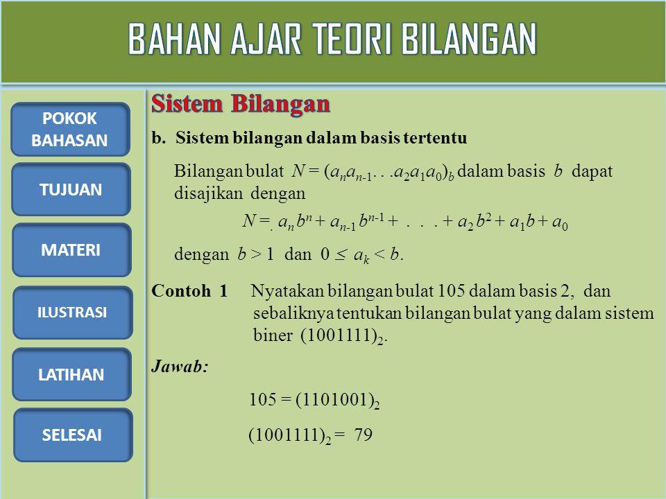 TUJUAN MATERI ILUSTRASI LATIHAN SELESAI POKOK BAHASAN b. Sistem bilangan dalam basis tertentu Bilangan bulat N = (a n a n-1...a 2 a 1 a 0 ) b dalam ba