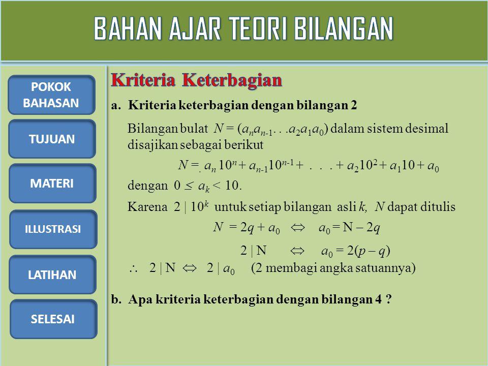 TUJUAN MATERI ILLUSTRASI LATIHAN SELESAI POKOK BAHASAN a. Kriteria keterbagian dengan bilangan 2 Bilangan bulat N = (a n a n-1...a 2 a 1 a 0 ) dalam s