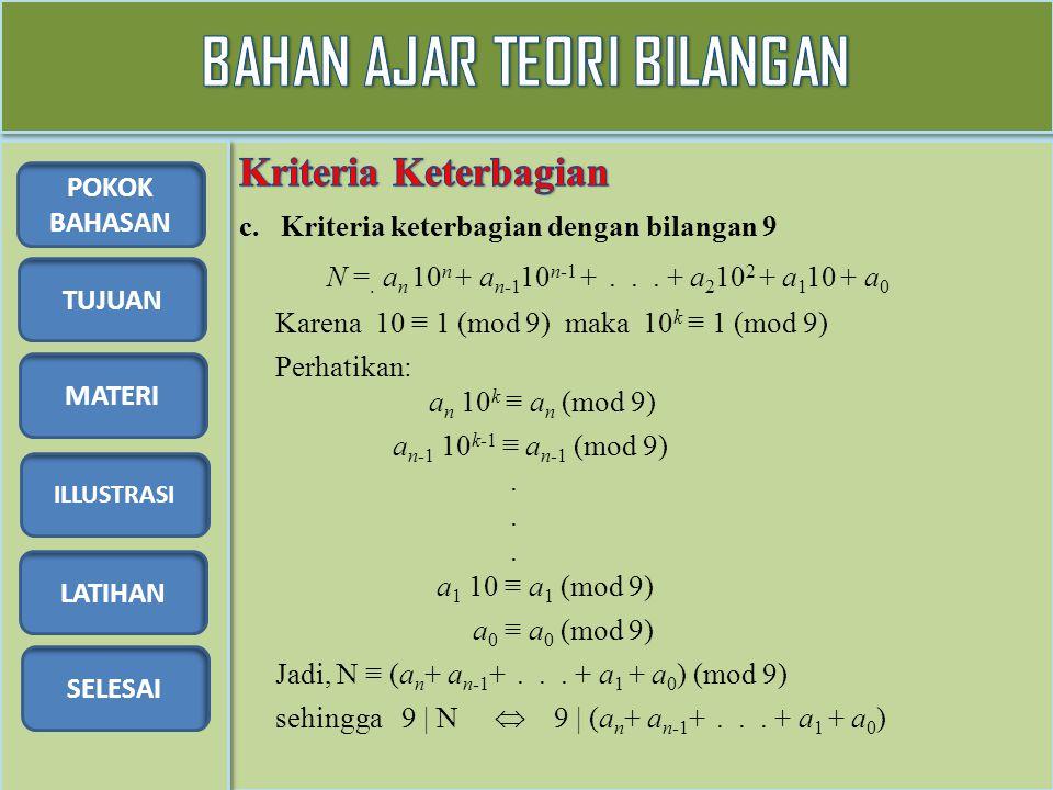 TUJUAN MATERI ILLUSTRASI LATIHAN SELESAI POKOK BAHASAN c. Kriteria keterbagian dengan bilangan 9 N =. a n 10 n + a n-1 10 n-1 +... + a 2 10 2 + a 1 10