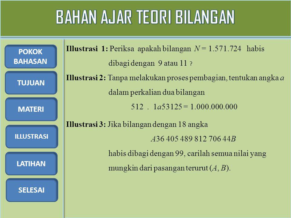 TUJUAN MATERI ILLUSTRASI LATIHAN SELESAI POKOK BAHASAN Illustrasi 1: Periksa apakah bilangan N = 1.571.724 habis dibagi dengan 9 atau 11 ? Illustrasi