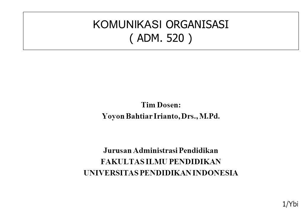 KOMUNIKASI ORGANISASI ( ADM. 520 ) Tim Dosen: Yoyon Bahtiar Irianto, Drs., M.Pd.