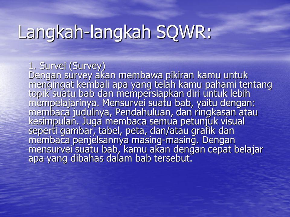 Langkah-langkah SQWR: 1. Survei (Survey) Dengan survey akan membawa pikiran kamu untuk mengingat kembali apa yang telah kamu pahami tentang topik suat