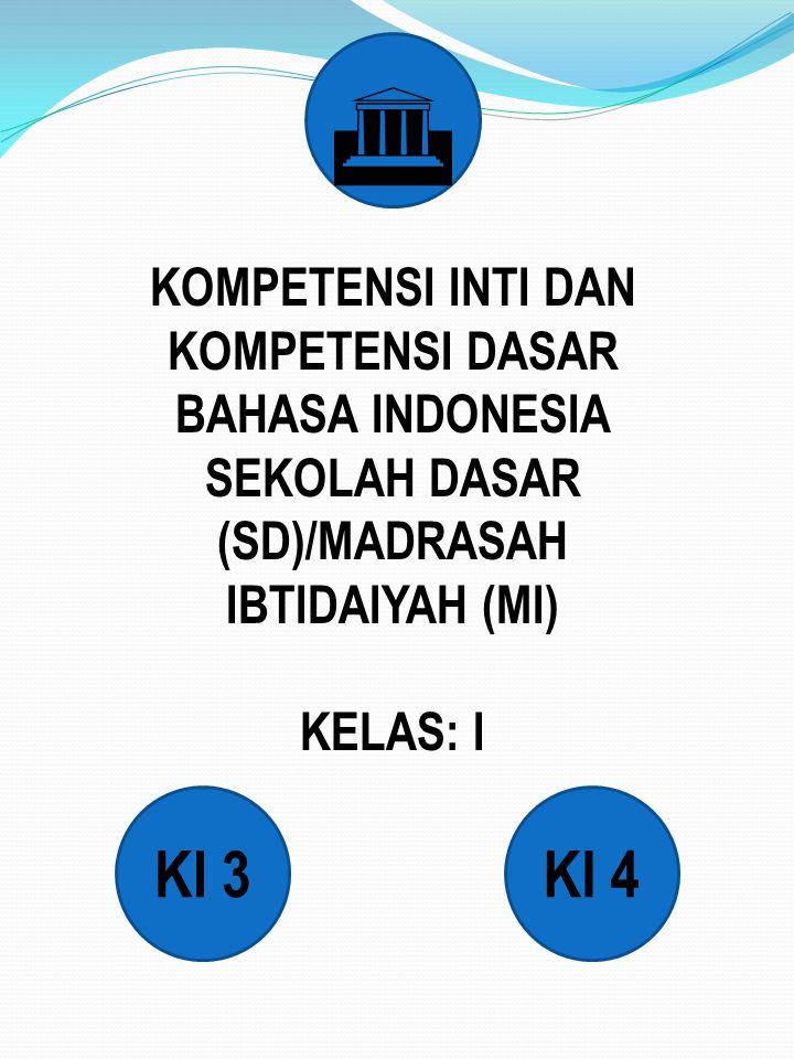 KOMPETENSI INTI DAN KOMPETENSI DASAR BAHASA INDONESIA SEKOLAH DASAR (SD)/MADRASAH IBTIDAIYAH (MI) KELAS: I KI 3KI 4 