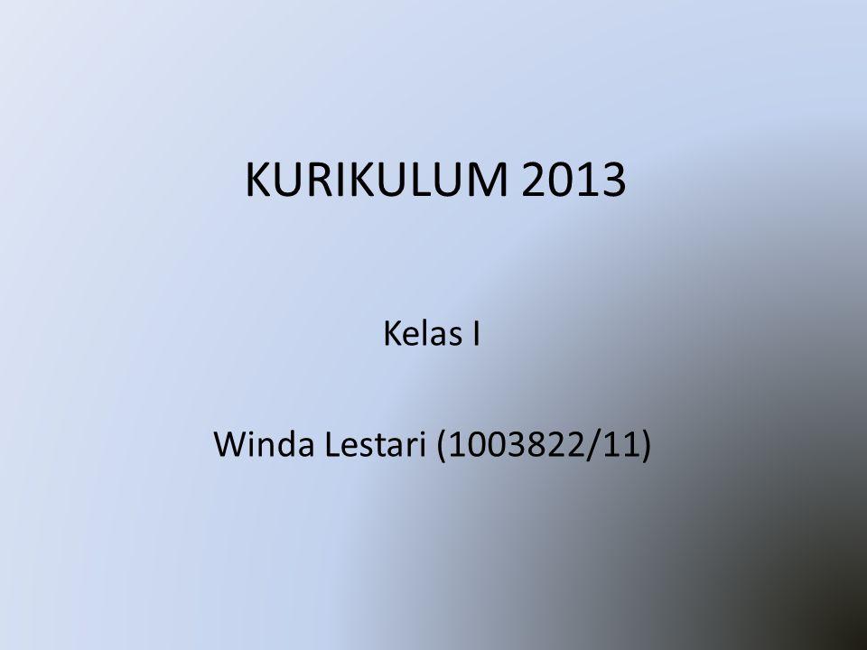 KURIKULUM 2013 Kelas I Winda Lestari (1003822/11)