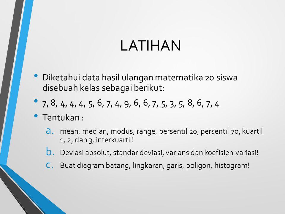 LATIHAN Diketahui data hasil ulangan matematika 20 siswa disebuah kelas sebagai berikut: 7, 8, 4, 4, 4, 5, 6, 7, 4, 9, 6, 6, 7, 5, 3, 5, 8, 6, 7, 4 Te