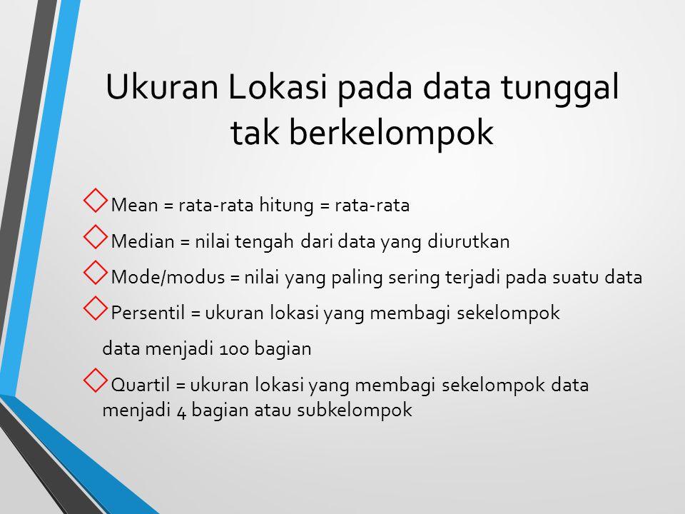 Ukuran Lokasi pada data tunggal tak berkelompok  Mean = rata-rata hitung = rata-rata  Median = nilai tengah dari data yang diurutkan  Mode/modus =