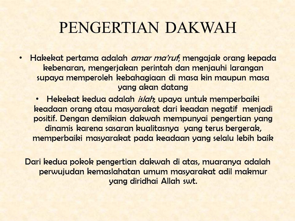 """ARTI DAKWAH Etimologi Da'a-yad'u-da'wah, artinya memanggil, mengajak, memohon, dan menyeru (Q.S. 16: 125) """"Serulah (manusia) kepada jalan Tuhan-mu den"""