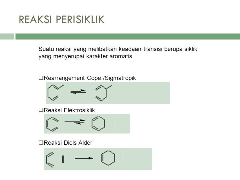 Suatu reaksi yang melibatkan keadaan transisi berupa siklik yang menyerupai karakter aromatis  Rearrangement Cope /Sigmatropik  Reaksi Elektrosiklik