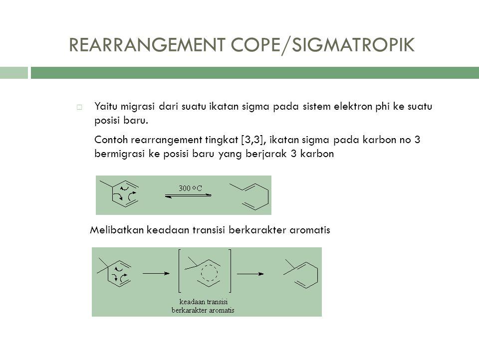 REARRANGEMENT COPE/SIGMATROPIK  Yaitu migrasi dari suatu ikatan sigma pada sistem elektron phi ke suatu posisi baru. Contoh rearrangement tingkat [3,