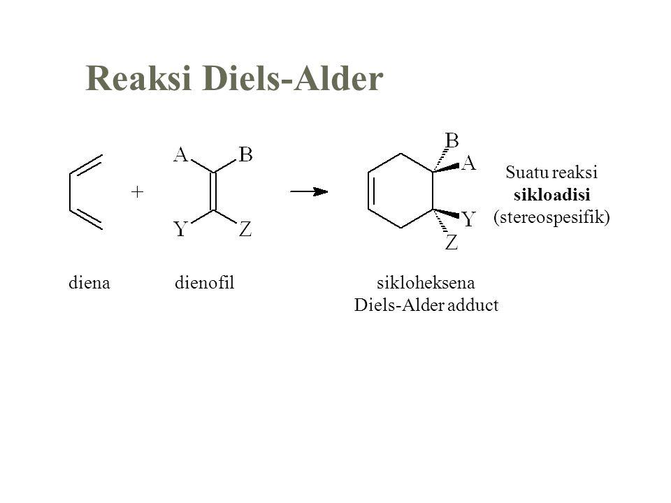 Reaksi Diels-Alder dienadienofilsikloheksena Diels-Alder adduct Suatu reaksi sikloadisi (stereospesifik)