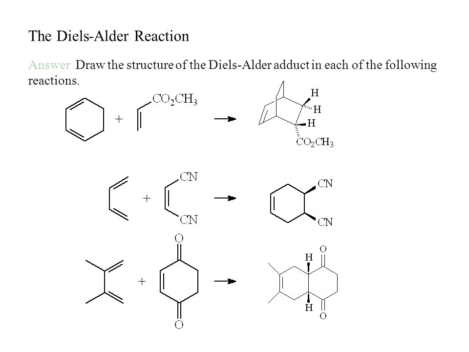 The Diels-Alder Reaction Answer Draw the structure of the Diels-Alder adduct in each of the following reactions.