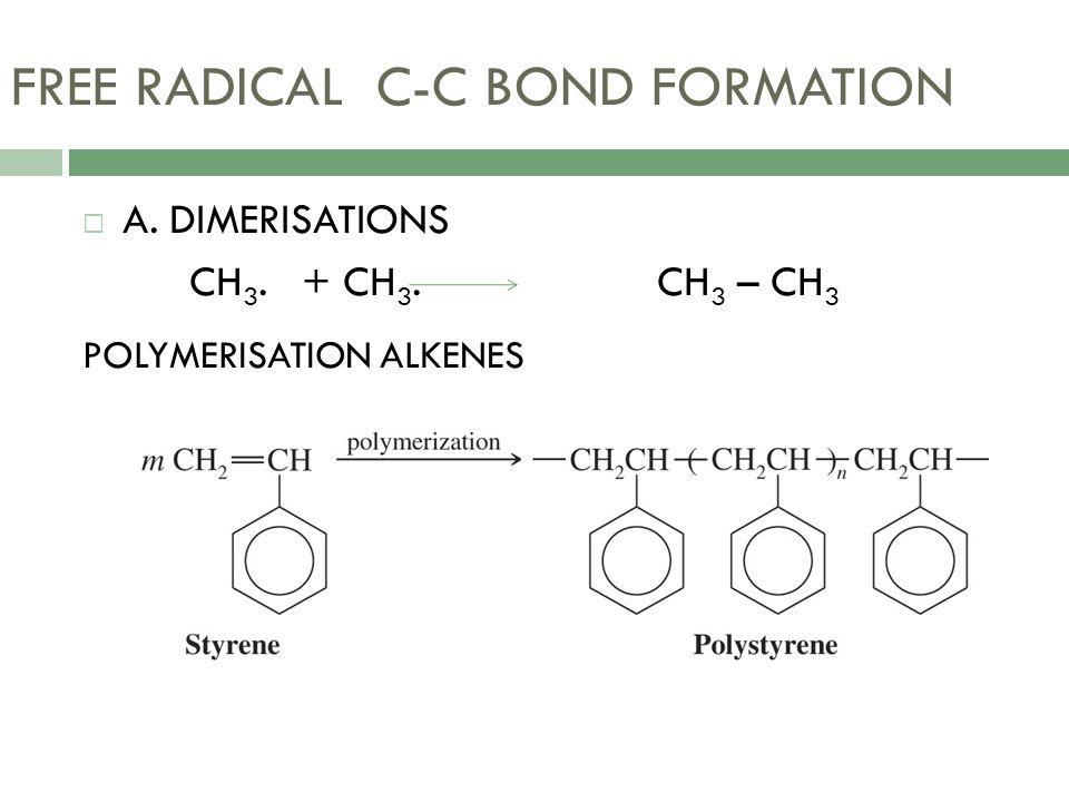 FREE RADICAL C-C BOND FORMATION  A. DIMERISATIONS CH 3. + CH 3. CH 3 – CH 3 POLYMERISATION ALKENES
