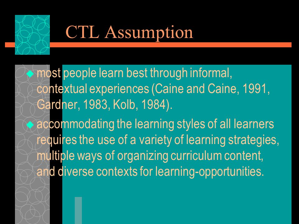 CTL Assumption  most people learn best through informal, contextual experiences (Caine and Caine, 1991, Gardner, 1983, Kolb, 1984).