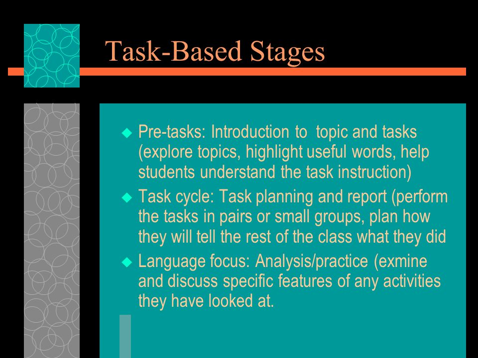 Task-Based Stages  Pre-tasks: Introduction to topic and tasks (explore topics, highlight useful words, help students understand the task instruction)  Task cycle: Task planning and report (perform the tasks in pairs or small groups, plan how they will tell the rest of the class what they did  Language focus: Analysis/practice (exmine and discuss specific features of any activities they have looked at.