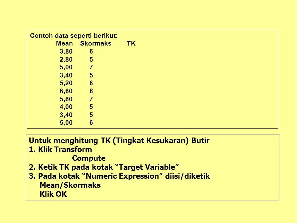 Untuk menghitung Tingkat Kesukaran Butir Analyze Descriptive Statistics Frequencies Kotak Variables diisi S1 S2 S3 S4 S5 S6 S7 S8 S9 S10 Klik Statistics, Klik Mean, Klik Continue Klik OK Mean setiap butir dicatat kemudian diketik dalam format SPSS.
