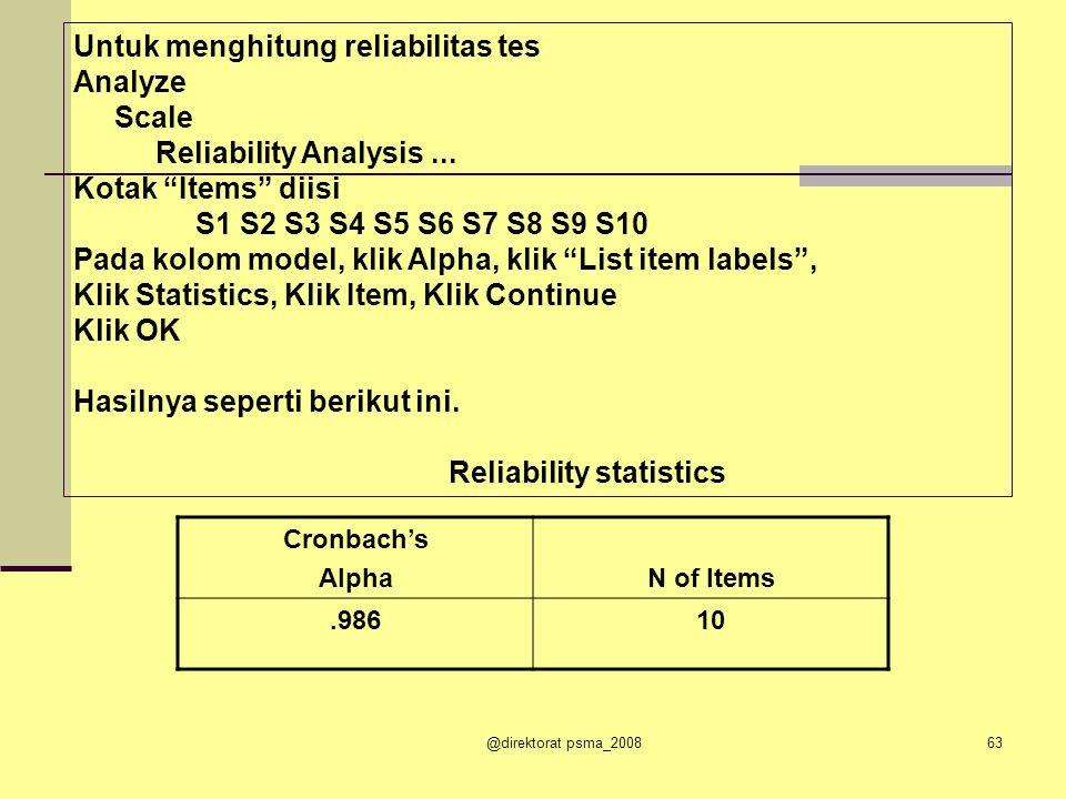 @direktorat psma_200862 Contoh hasil TK seperti berikut: Soal Mean Skormaks TK 13,80 6.63 22,805.56 35,007.71 43,405.68 55,206.87 66,608.83 75,607.80 84,005.80 93,405.68 105,006.83 KRITERIA TK: 0,00 – 0,30 = sukar 0,31 - 0,70 = sedang 0,71 – 1,00 = mudah