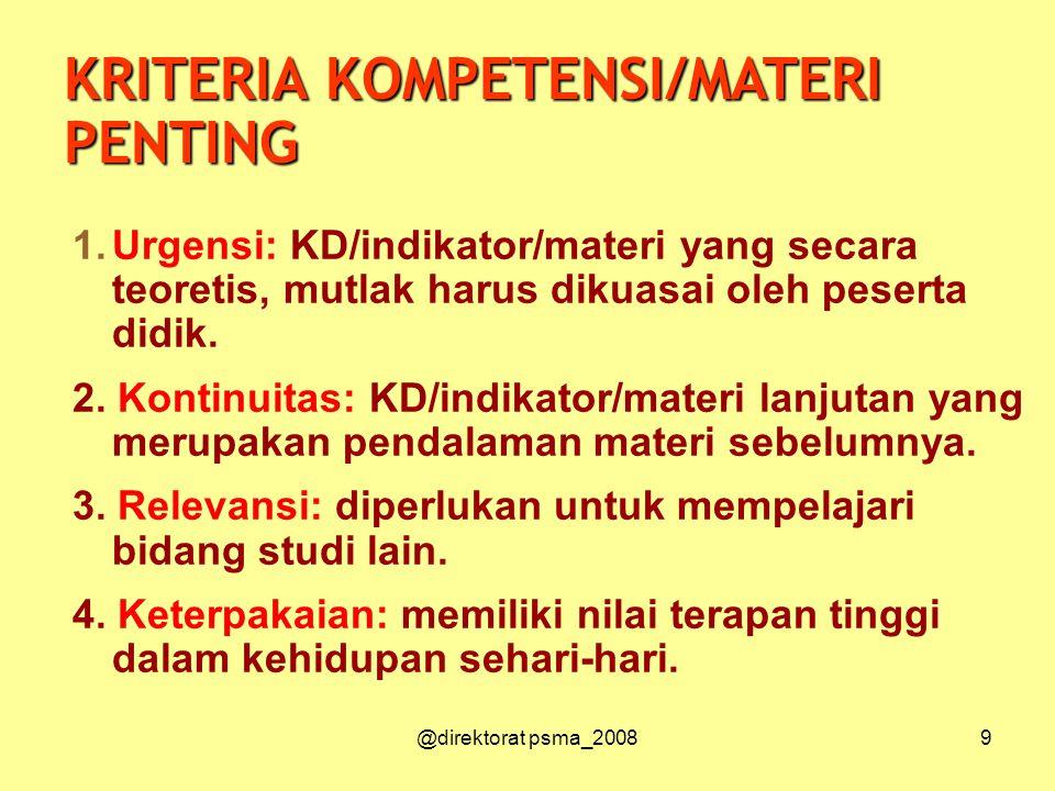@direktorat psma_20089 1.Urgensi: KD/indikator/materi yang secara teoretis, mutlak harus dikuasai oleh peserta didik.