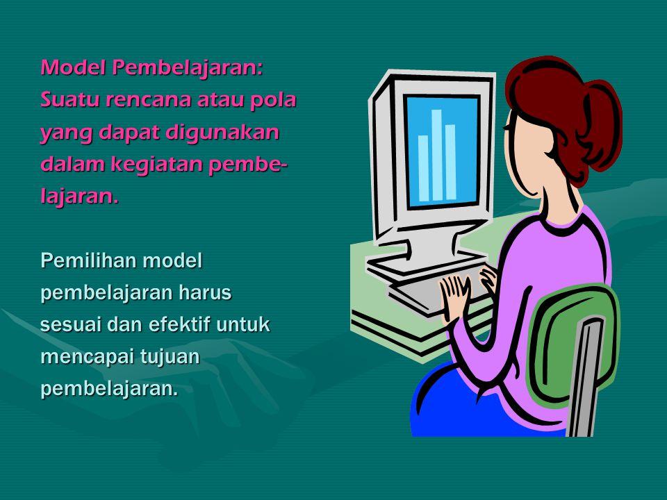 Ciri-ciri Model Pembelajaran: 1.Berdasarkan teori pendidikan dan teori belajar; 2.Mempunyai tujuan pendidikan tertentu; 3.Dapat dijadikan pedoman untuk perbaikan Kegiatan Belajar Mengajar (KBM) di kelas; 4.Bagian2 model terdiri atas: (a) urutan langkah- langkah pembelajaran (syntax); (b) prinsip- prinsip reaksi; (c) sistem sosial; dan (d) sistem pendukung.