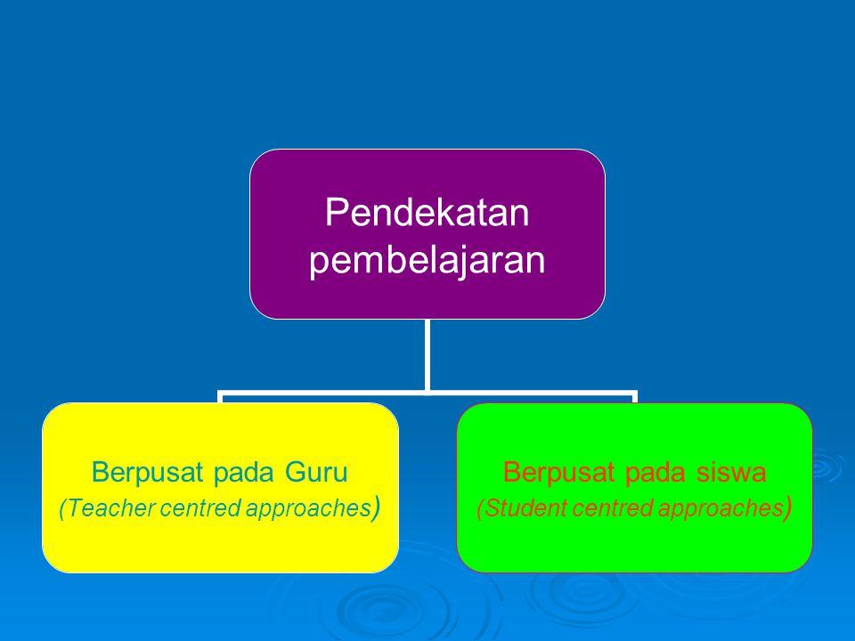 Pendekatan pembelajaran Berpusat pada Guru (Teacher centred approaches) Berpusat pada siswa (Student centred approaches)