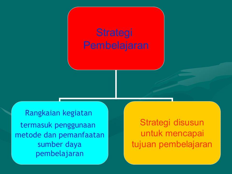 Strategi Pembelajaran Rangkaian kegiatan termasuk penggunaan metode dan pemanfaatan sumber daya pembelajaran Strategi disusun untuk mencapai tujuan pe