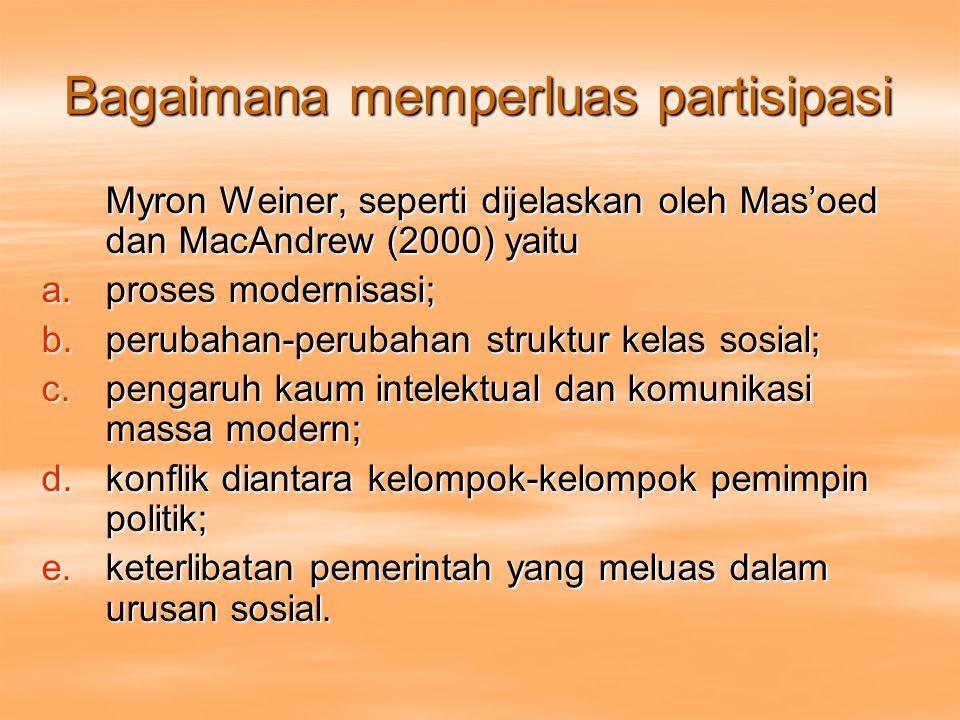 Bagaimana memperluas partisipasi Myron Weiner, seperti dijelaskan oleh Mas'oed dan MacAndrew (2000) yaitu a.proses modernisasi; b.perubahan-perubahan struktur kelas sosial; c.pengaruh kaum intelektual dan komunikasi massa modern; d.konflik diantara kelompok-kelompok pemimpin politik; e.keterlibatan pemerintah yang meluas dalam urusan sosial.