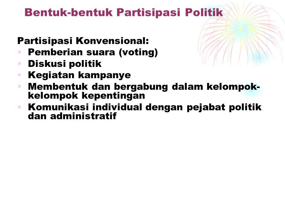 Bentuk-bentuk Partisipasi Politik Partisipasi Konvensional: Pemberian suara (voting) Diskusi politik Kegiatan kampanye Membentuk dan bergabung dalam kelompok- kelompok kepentingan Komunikasi individual dengan pejabat politik dan administratif