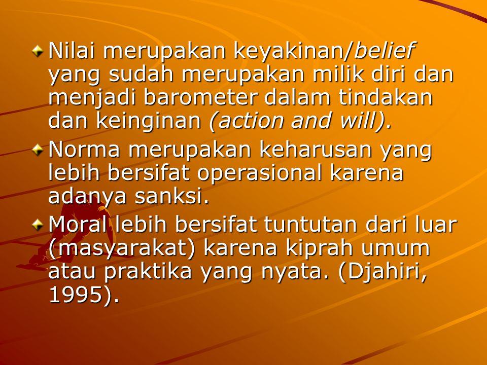Nilai merupakan keyakinan/belief yang sudah merupakan milik diri dan menjadi barometer dalam tindakan dan keinginan (action and will).