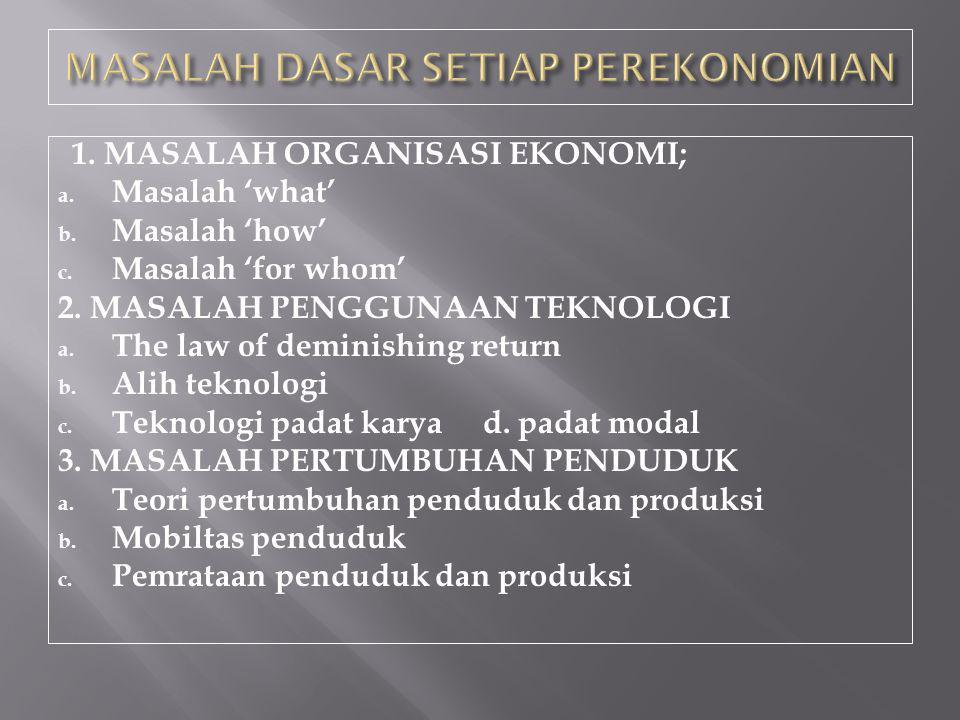 1. MASALAH ORGANISASI EKONOMI; a. Masalah 'what' b. Masalah 'how' c. Masalah 'for whom' 2. MASALAH PENGGUNAAN TEKNOLOGI a. The law of deminishing retu