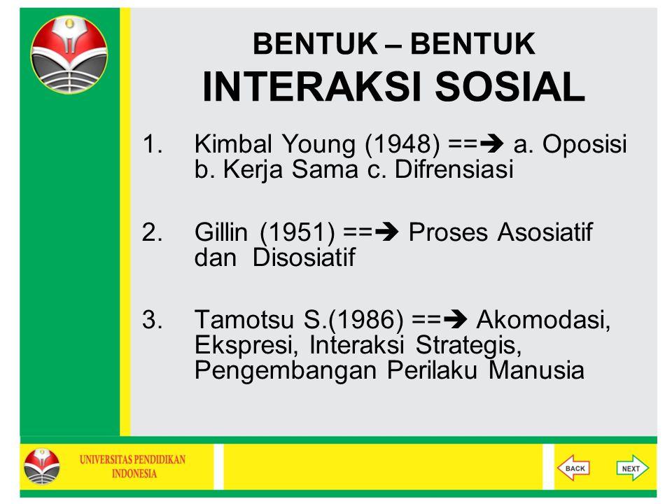 BENTUK – BENTUK INTERAKSI SOSIAL 1.Kimbal Young (1948) ==  a. Oposisi b. Kerja Sama c. Difrensiasi 2.Gillin (1951) ==  Proses Asosiatif dan Disosiat