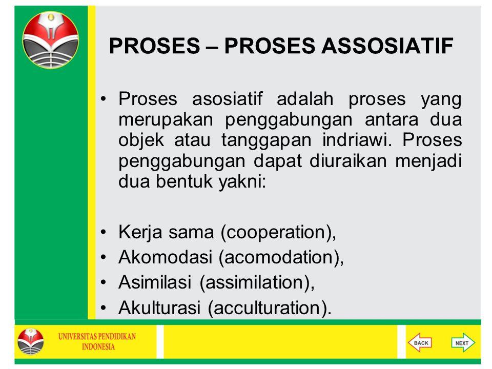 PROSES – PROSES ASSOSIATIF Proses asosiatif adalah proses yang merupakan penggabungan antara dua objek atau tanggapan indriawi. Proses penggabungan da