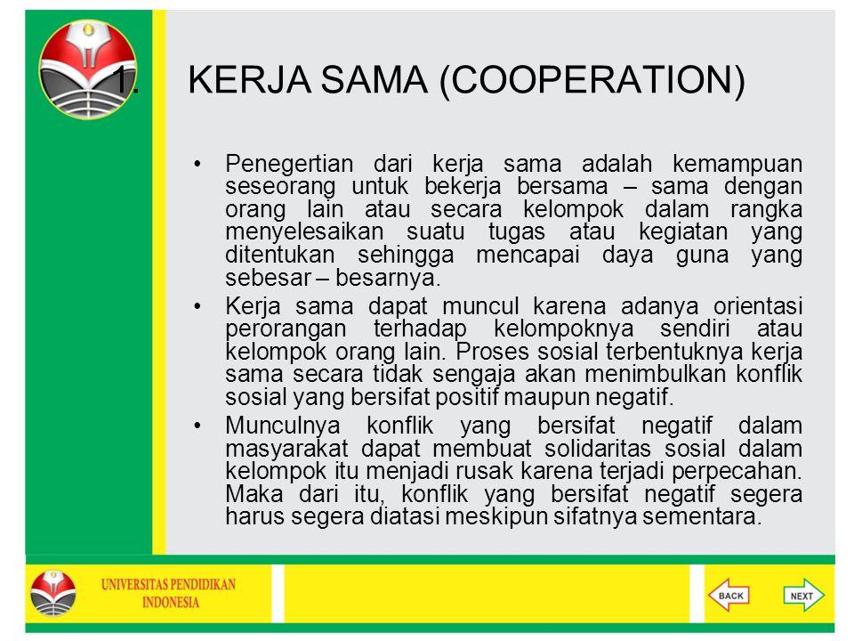 BENTUK-BENTUK INTERAKSI SOSIAL Kerja sama (Cooperation) suatu usaha bersama antara individu atau kelompok untuk mencapai satu tujuan atau beberapa tujuan bersama.