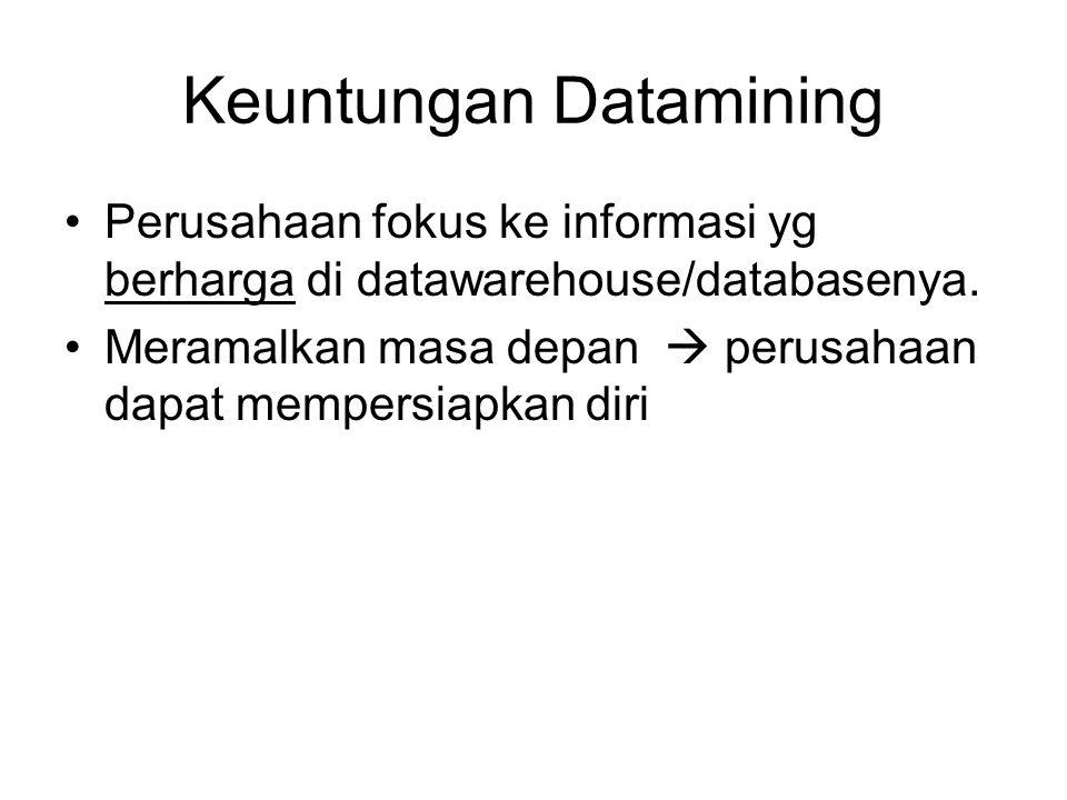 Keuntungan Datamining Perusahaan fokus ke informasi yg berharga di datawarehouse/databasenya. Meramalkan masa depan  perusahaan dapat mempersiapkan d