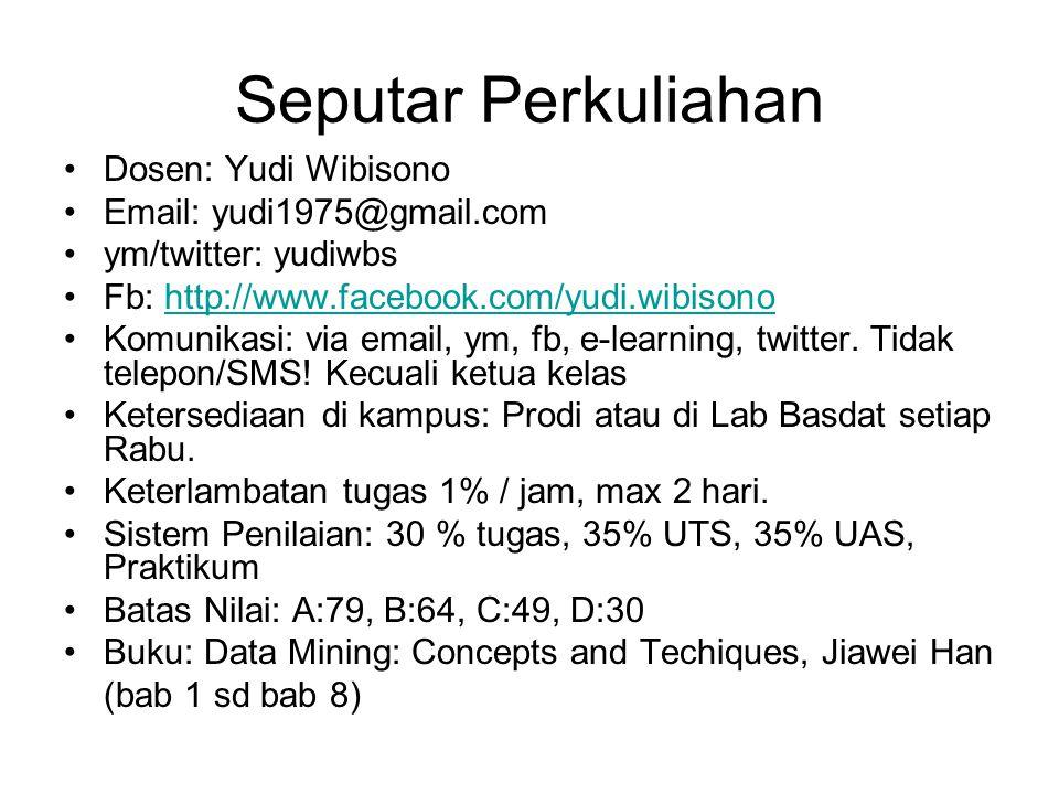 Seputar Perkuliahan Dosen: Yudi Wibisono Email: yudi1975@gmail.com ym/twitter: yudiwbs Fb: http://www.facebook.com/yudi.wibisonohttp://www.facebook.com/yudi.wibisono Komunikasi: via email, ym, fb, e-learning, twitter.