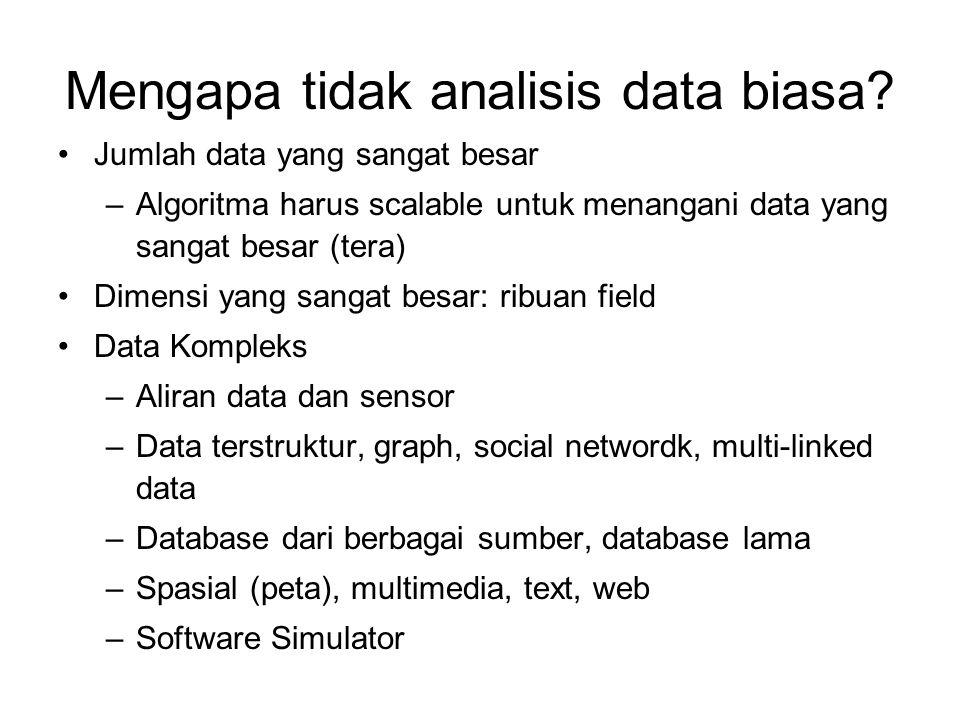 Mengapa tidak analisis data biasa? Jumlah data yang sangat besar –Algoritma harus scalable untuk menangani data yang sangat besar (tera) Dimensi yang