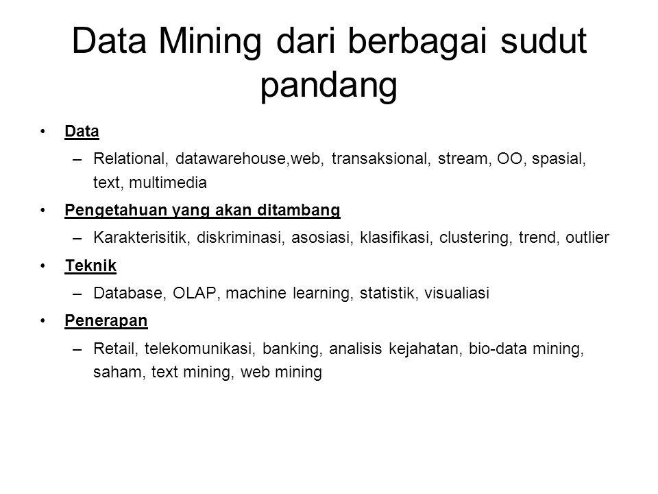 Data Mining dari berbagai sudut pandang Data –Relational, datawarehouse,web, transaksional, stream, OO, spasial, text, multimedia Pengetahuan yang akan ditambang –Karakterisitik, diskriminasi, asosiasi, klasifikasi, clustering, trend, outlier Teknik –Database, OLAP, machine learning, statistik, visualiasi Penerapan –Retail, telekomunikasi, banking, analisis kejahatan, bio-data mining, saham, text mining, web mining