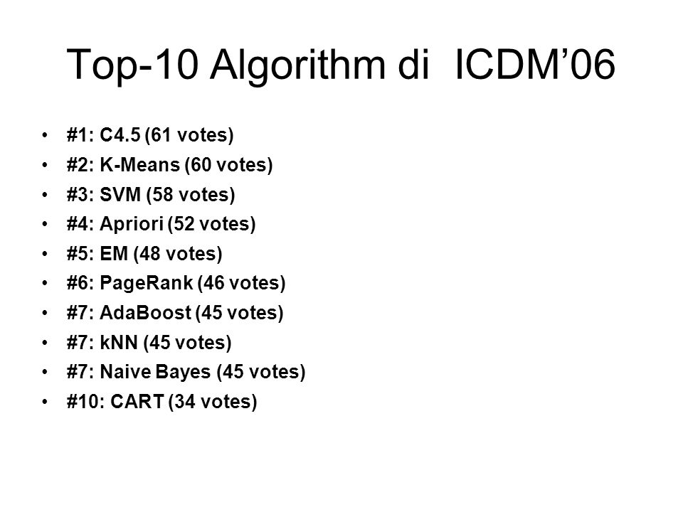 Top-10 Algorithm di ICDM'06 #1: C4.5 (61 votes) #2: K-Means (60 votes) #3: SVM (58 votes) #4: Apriori (52 votes) #5: EM (48 votes) #6: PageRank (46 vo