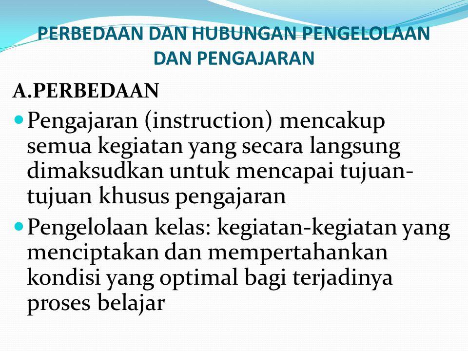 PERBEDAAN DAN HUBUNGAN PENGELOLAAN DAN PENGAJARAN A.PERBEDAAN Pengajaran (instruction) mencakup semua kegiatan yang secara langsung dimaksudkan untuk