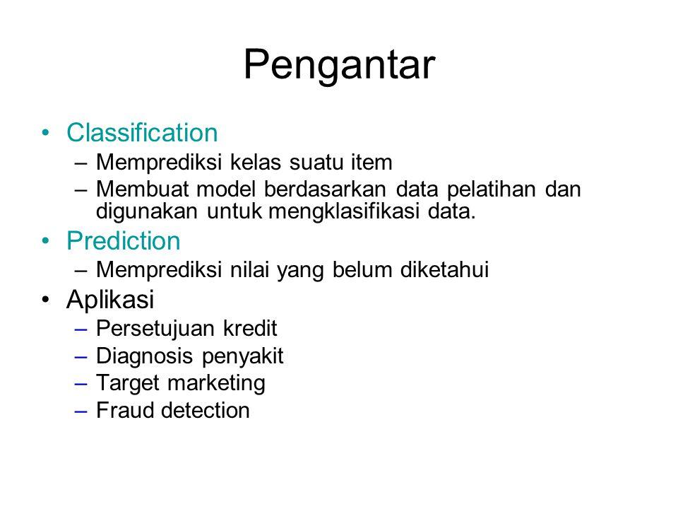 Pengantar Classification –Memprediksi kelas suatu item –Membuat model berdasarkan data pelatihan dan digunakan untuk mengklasifikasi data. Prediction